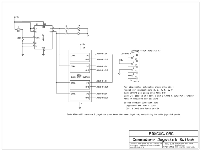Commodore Joystick Switch Schematic